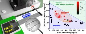 二層カーボンナノチューブアレイの紡績可能条件 (drawable conditions of double-walled carbon nanotube array)
